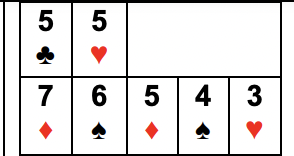 Example of Straight, Flush, or Straight Flush with Three of a Kind