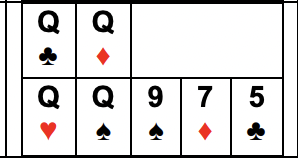 Example of Four of a Kind As, Ks, or Qs