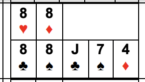 Example of Four of a Kind: 8s, 7s, or 6s