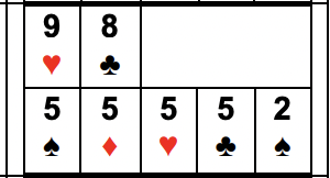 Example of Four of a Kind: 5s or below