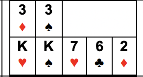 Example of Two Pair: High Pair is As, Ks, or Qs