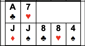 Example of Two Pair: High Pair is Js, 10s, or 9s